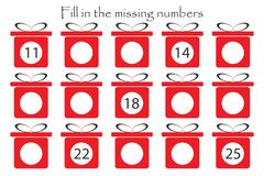 Game with christmas gifts for children, fill in the missing numbers, middle level, education game for kids, school worksheet activ stock illustration
