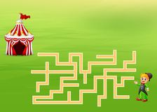 Game circus guide maze find their way to the tents. Illustration of game circus guide maze find their way to the tents vector illustration