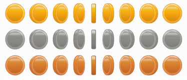 Game coin animation set vector illustration Royalty Free Stock Photo
