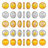 Game coins rotation set Royalty Free Stock Photography