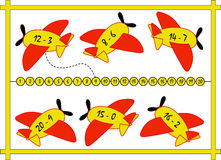 Game. Color illustration of a mathematical game where you have to connect the 'plane with the corresponding result Royalty Free Stock Image