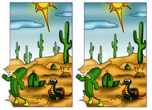 Game 110. Color illustration of a game where to find the five differences between the two designs stock illustration