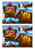 Game 101. Color illustration of a game where you have to find the five differences between the two designs Stock Images