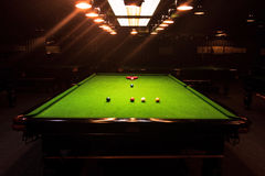 Game competition snooker balls,table and orange light. Game competition snooker balls,table and the orange light royalty free stock image