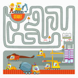 Game concept with excavator finding right way. Help the excavators driver to find right way to construction place.Ready game design concept for preschool Royalty Free Stock Photos