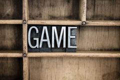 Game Concept Metal Letterpress Word in Drawer Stock Photography