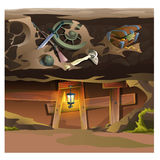 Game concept, underground tunnel. Cartoon location Royalty Free Stock Image