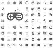 Game console icon. Media, Music and Communication vector illustration icon set. Set of universal icons. Set of 64 icons.  Royalty Free Stock Photo