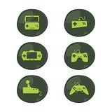 Game console icon set Royalty Free Stock Image