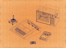 Game Console - Retro Blueprint. Shoot of the Game Console - Retro Blueprint Royalty Free Stock Image