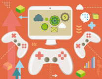 Game controller and computer screen. Game controller and screen with virtual money, concept with infographics elements and grunge texture Stock Photography