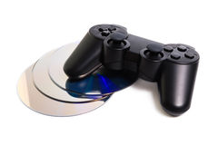 Game controller and disc  on white background Royalty Free Stock Photo