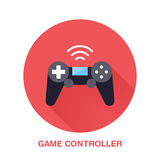 Game controller flat style icon. Wireless technology, video game device sign. Vector illustration of communication Royalty Free Stock Image