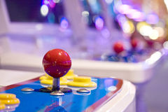 Game controller in game arcade. Landscape interior Royalty Free Stock Image