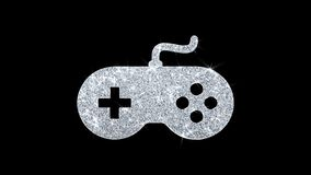 Game Controller joystick epad Game Icon Shining Glitter Loop Blinking Particles . Game Controller joystick epad Game Icon Sparkling Shining White Blinking stock illustration