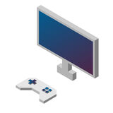Game controller and monitor. Isometric Illustration . Video game . Stock Images