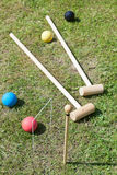 Game of croquet on green lawn Stock Photos