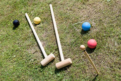 Game of croquet on green lawn Royalty Free Stock Photo