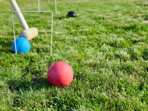 Game of croquet on green lawn Royalty Free Stock Images