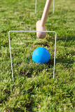 Game of croquet on green lawn Royalty Free Stock Photography
