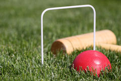 Game of croquet red ball in focus royalty free stock image
