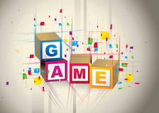 Game cubes box. Composition illustration over a color background Stock Images