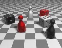 Game 3d abstract concept illustration with checkers Royalty Free Stock Images
