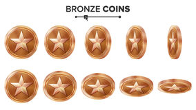 Game 3D Bronze Coin Vector With Star. Flip Different Angles. Achievement Coin Icons, Sign, Success, Winner, Bonus, Cash vector illustration