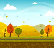 Game 2d Park Landscape. Game 2d autumn park landscape with railroad and hills on background vector illustration Stock Image