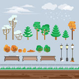 Game 2d  winter landscape park background Royalty Free Stock Photos