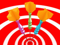 Game of darts. 3D close-up image. Game on dartboard with three darts. 3D close-up image Stock Image