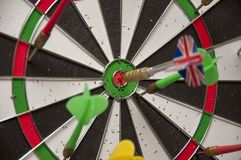 The game of darts close-up. stock photos