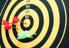The game of darts. Darts hit the target Royalty Free Stock Photo
