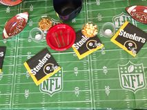 Game day coffee table NFL Pittsburg steelers Stock Images