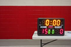 Game day indoor tabletop electronic scoreboard for wrestling, basketball or volleyball. Game day indoor tabletop electronic scoreboard for high school wrestling Royalty Free Stock Photos