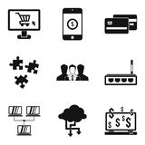 Game dependence icons set, simple style. Game dependence icons set. Simple set of 9 game dependence vector icons for web isolated on white background Royalty Free Stock Photos