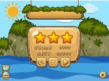 Game design with ocean and mountains in background. Illustration Royalty Free Stock Images
