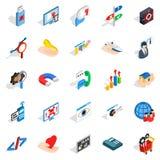 Game dev icons set, isometric style. Game dev icons set. Isometric set of 25 game dev vector icons for web isolated on white background Royalty Free Stock Image