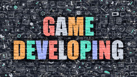 Game Developing Concept with Doodle Design Icons. Stock Photo