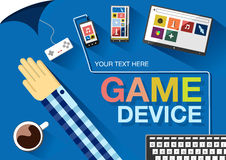 Game devices. Color flat vector illustration. Game devices. Color flat design vector illustration Royalty Free Stock Photo