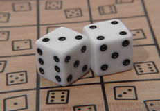 Game Dice. Photo of White Game Dice royalty free stock photos