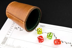Game Dice 1. Game Dice on a stock chart Royalty Free Stock Photo