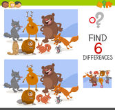 Game of differences with animals. Cartoon Illustration of Finding the Differences Educational Game for Children with Wild Animal Characters Stock Image