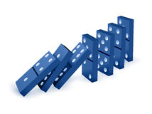 Game of domino. Falling dominoes. Blue Icon game of dominoes. Board game Domino. Domino icon vector for web. Push domino Stock Photography