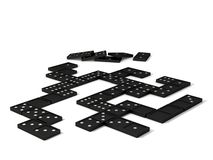 Game of Domino's. Dominos laid out as though partway through a game Stock Image