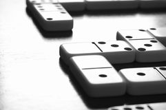 Game of Dominoes Board with Nobody. Domino games pieces board on table with nobody Royalty Free Stock Photos