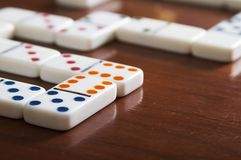 Game of Dominoes Board with Nobody. Domino games pieces board on table with nobody Stock Image