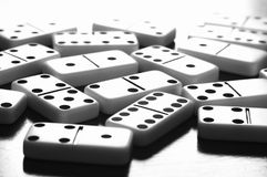 Game of Dominoes Board with Nobody. Domino games pieces board on table with nobody Stock Photo