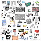 Game doodle set, hand drawn Stock Photo