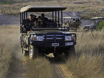 GAME_DRIVE_VEHICLES. Visitors to Welgevonden Game Reserve in South Africa keep an eye out for wildlife during a game drive aboard four wheel drive vehicles Stock Photos